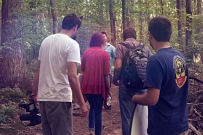 SON OF CLOWNS CAST AND CREW IN WOODS