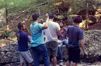 SON OF CLOWNS EVAN KIDD DIRECTING ON SET ROCK RIVER SCENE