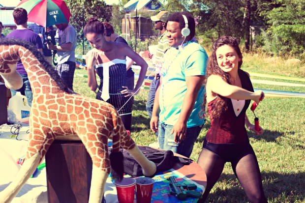 From left to right: Nikko Smith (Sara), Darryl Postley Jr. (Jabari), and Kirsti Leighton (Claire) have fun during the circus party scene.